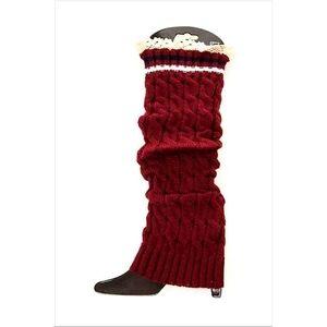 NWT Lace Trim Leg Warmers | Burgundy